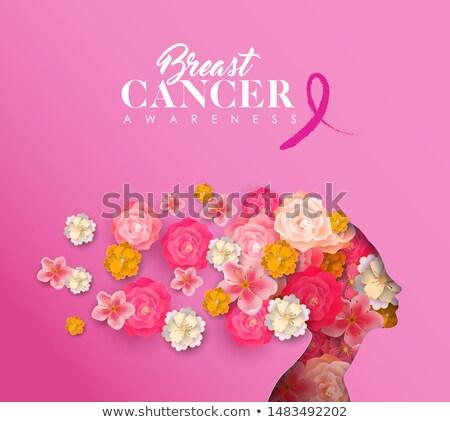 cáncer · de · mama · conciencia · rosa · tipografía · mes - foto stock © cienpies