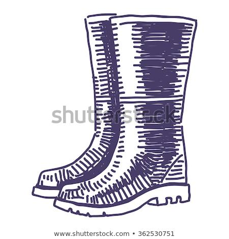 wellington rubber boots or gumboots cartoon retro drawing stock photo © patrimonio