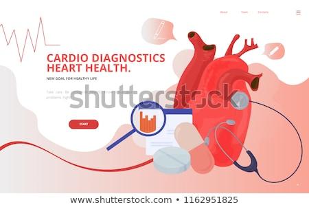 Cardiologie webpagina sjabloon hartziekte hart zorg Stockfoto © RAStudio