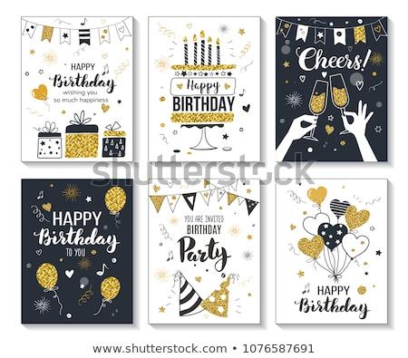 bolo · de · aniversário · vela · aniversário · bolo · de · chocolate · dourado - foto stock © get4net
