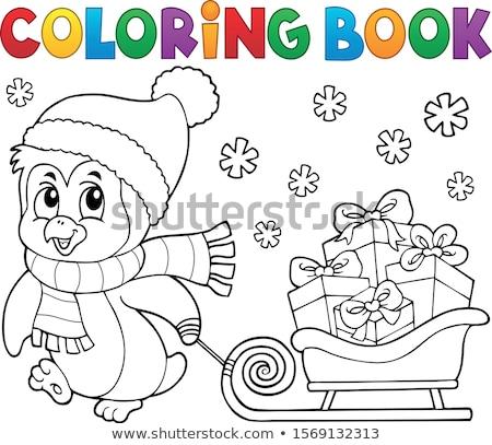Kleurboek christmas pinguin onderwerp boek kunst Stockfoto © clairev