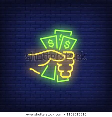 Dollár bankjegyek neonreklám üzlet promóció papír Stock fotó © Anna_leni