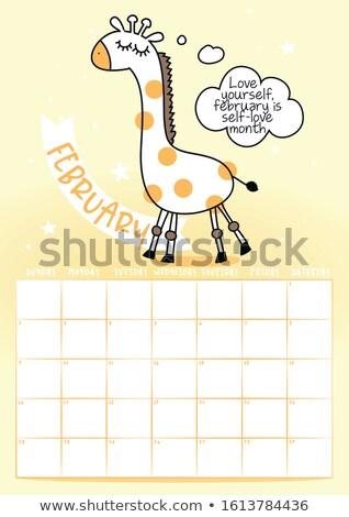 2020 February calendar with calligraphy phrase and Giraffe doodle Stock photo © Zsuskaa