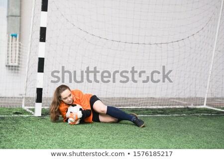 Foto stock: Jovem · feminino · goleiro · futebol · verde · campo