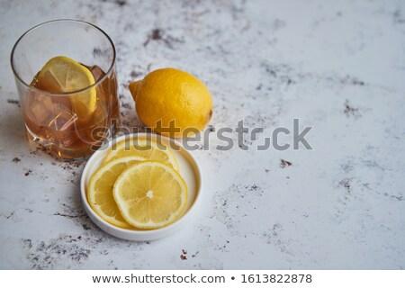 Whiskey fanyar ital citrom üveg kő Stock fotó © dash