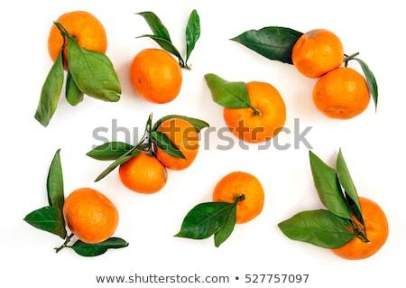 Geschält grüne Blätter isoliert weiß orange Mandarine Stock foto © Bozena_Fulawka