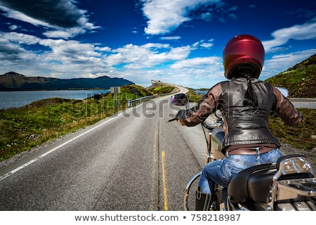 Kız yol Norveç dağ bisiklet Stok fotoğraf © cookelma