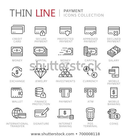 Internet elektronikus pénztárca vektor vékony vonal Stock fotó © pikepicture