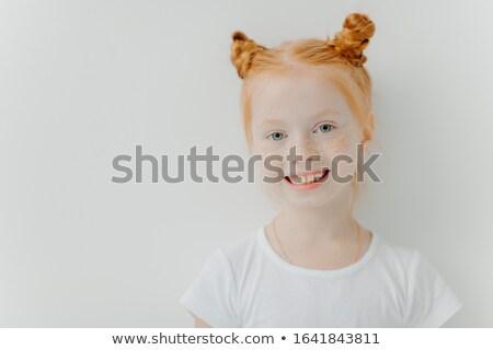 Pozitív vonzó kislány dupla gyömbér szeplők Stock fotó © vkstudio