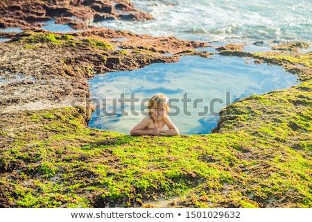 Menino turista praia bali ilha Indonésia Foto stock © galitskaya