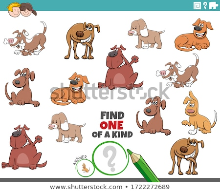 one of a kind game for children with funny dogs Stock photo © izakowski