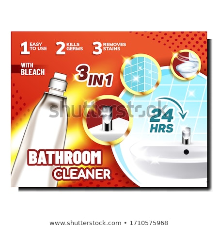 Bathroom Cleaner Bright Promotional Poster Vector Stock photo © pikepicture