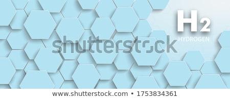 六角形 構造 水素 ヘッダ 文字 青 ストックフォト © limbi007