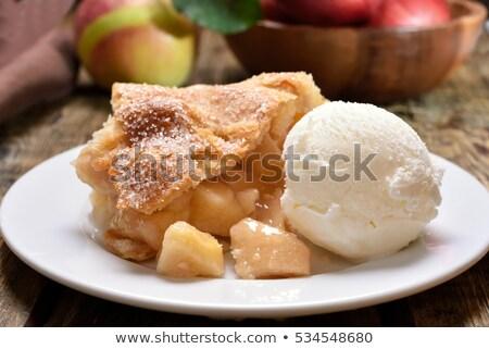 Appeltaart ijs houten tafel voedsel culinair Stockfoto © dolgachov