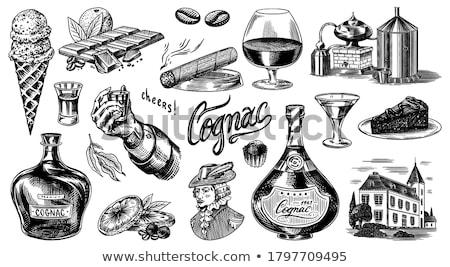 Glas cognac sigaar houten vat hout Stockfoto © goir