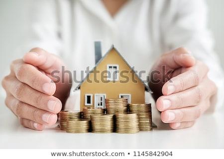 pénz · ház · kéz · égbolt · otthon · ajándék - stock fotó © rufous