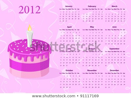 American Vector Calendar 2012 With Cake Stock fotó © Elisanth