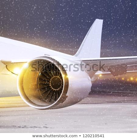 Időjárás repülőtér fehér repülőgép tél idő Stock fotó © ssuaphoto