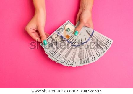 Stok fotoğraf: Kadın · eller · dolar · yalıtılmış · beyaz · kâğıt