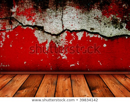 vintage interior with bright red cracked wall - similar images a Stock photo © vkraskouski