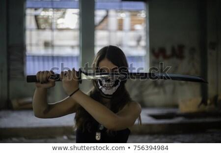 ストックフォト: 戦士 · 女性 · 剣 · 小さな · 手