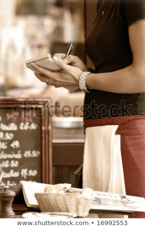 Serveuse ordre papier main femmes stylo Photo stock © photography33