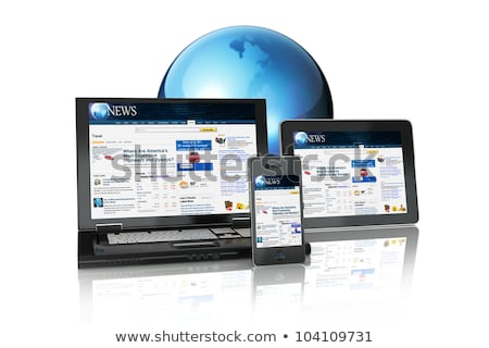 Multi Media Internet Laptop with Objects on Black Stock photo © HaywireMedia