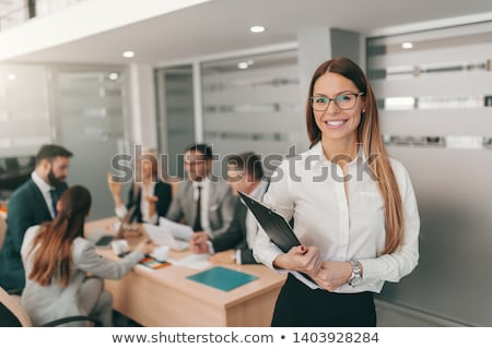 Feminino supervisor clipboard sorrir beleza Foto stock © photography33