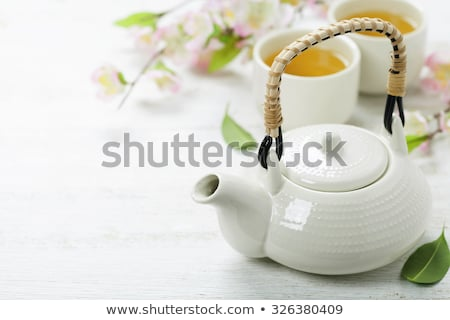 asian tea set on bamboo mat stock photo © neirfy