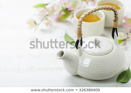 asian tea set on bamboo mat Stock photo © neirfy