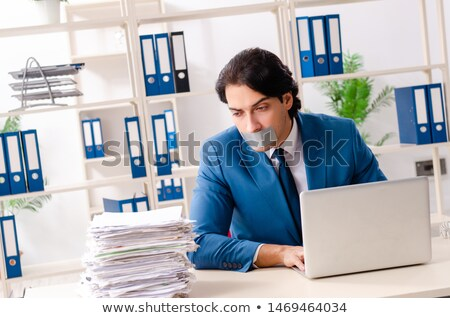 бизнесмен · лента · рот · изолированный · белый · бизнеса - Сток-фото © rtimages