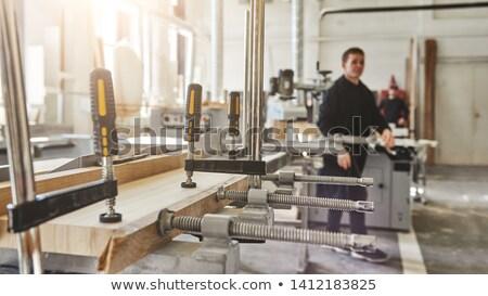 Anxieux constructeur bois construction travailleur Photo stock © photography33