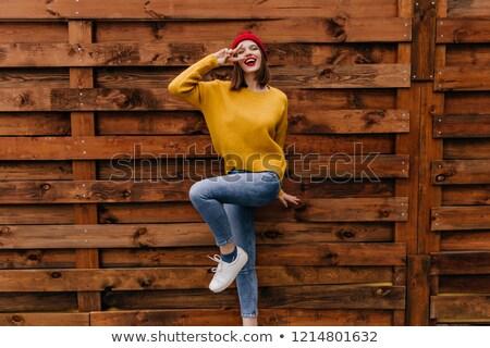 Zdjęcia stock: Szczęśliwy · uśmiechnięty · brunetka · kobiet · jesienią · kobieta