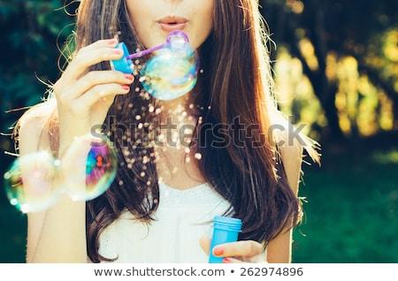 álomszerű buborék lány szőke tini szépség Stock fotó © lithian