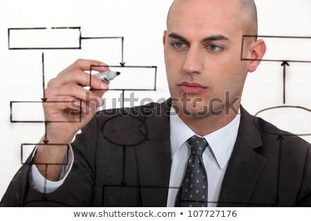 Bald man drawing flowchart Stock photo © photography33