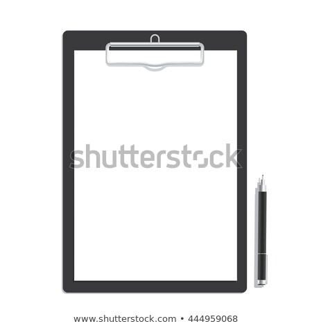 Black clip board with blank paper and pen Stock photo © vankad