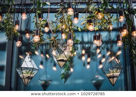 Romantikus esküvő ünneplés étterem üzlet bor Stock fotó © OleksandrO