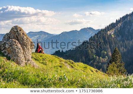 mulher · caminhadas · outono · mata · trilha · mochila - foto stock © photography33