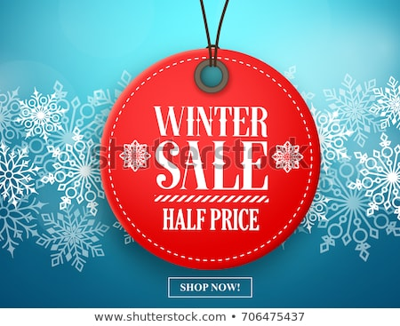 christmas sale red circle banner with snowflakes symbol Stock photo © marinini