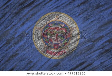 Bayrak Minnesota tahta boyalı tebeşir amerikan Stok fotoğraf © vepar5