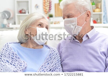 Altmışlar çift mutlu yalıtılmış beyaz kadın Stok fotoğraf © zittto