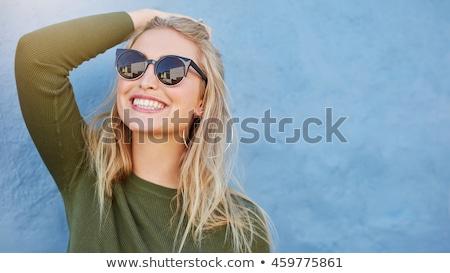 Сток-фото: счастливым · женщину · синий · платье · сидят