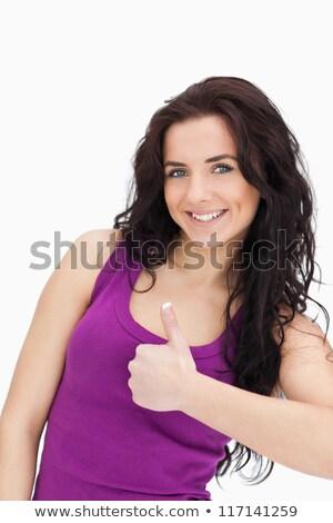 Morena blanco moda femenino camiseta Foto stock © wavebreak_media