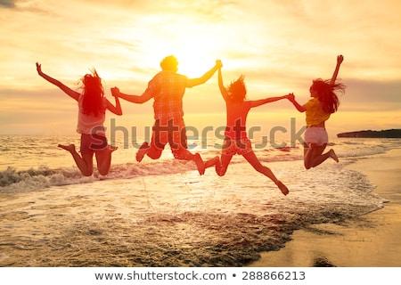 lopen · water · strand · gelukkig · gezicht - stockfoto © meinzahn