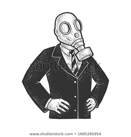 Vintage gasmasker oude zwarte rubber Stockfoto © ArenaCreative