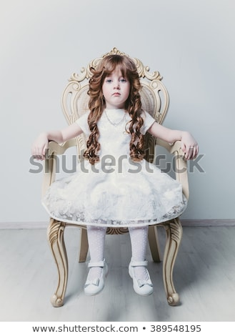 Little Kid Girl on Sitting on Throne Stock photo © lenm