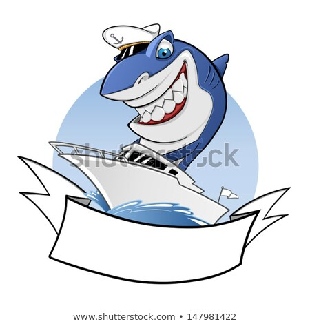 Köpekbalığı binicilik tekne denizci su deniz Stok fotoğraf © vector1515