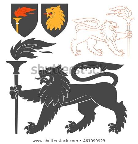 Leão tocha preto cadeia silhueta animal Foto stock © Genestro
