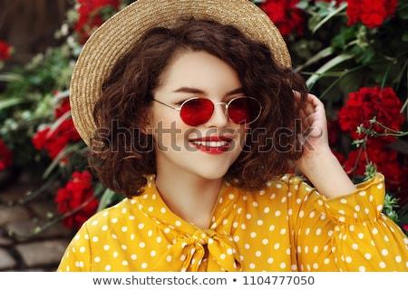 sexy · delgado · morena · posando · amarillo · vestido - foto stock © chesterf