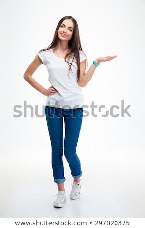 Foto stock: Atraente · mulher · jovem · estúdio · retrato · isolado